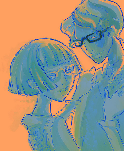 couple art glasses love
