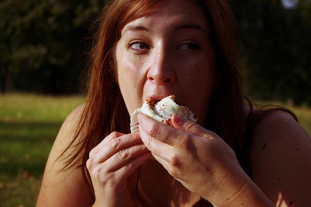 eating cupcake dessert