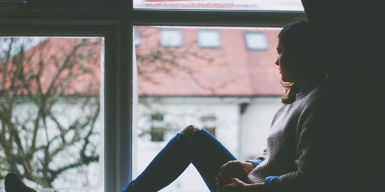 girl window sill alone watch