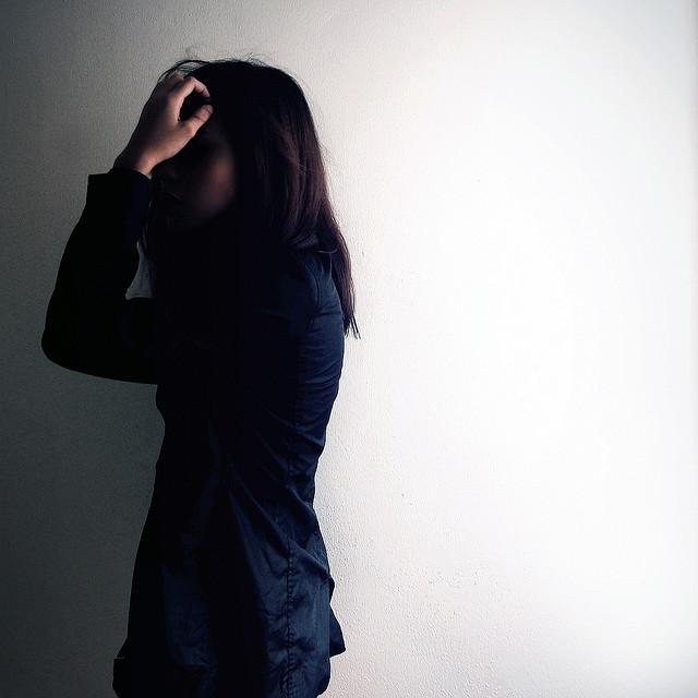 sad anxious depressed dark woman alone