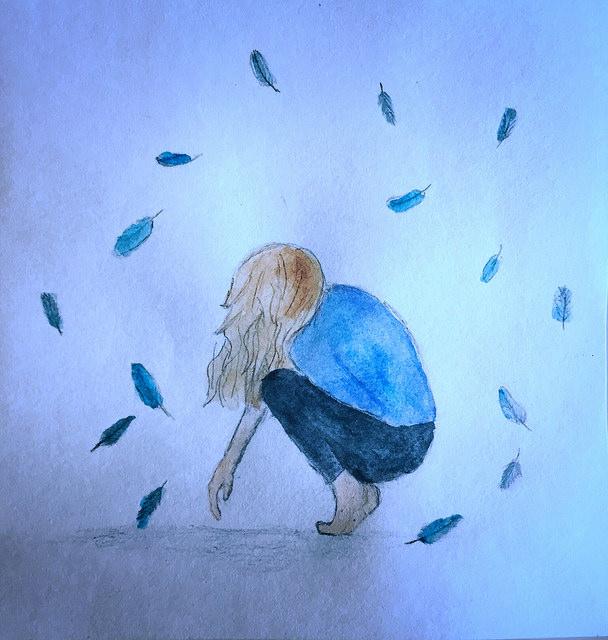 sad woman heal leaves