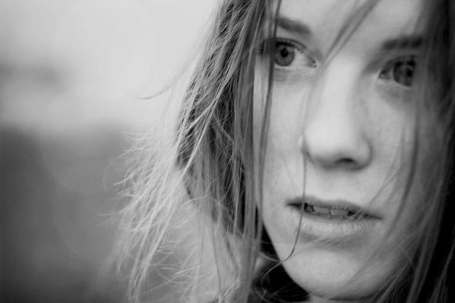 woman staring eyes