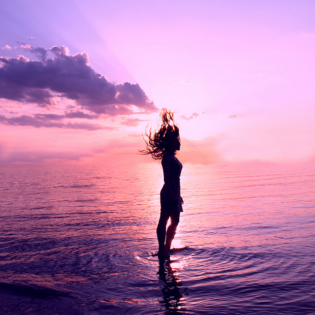 woman, water, clouds, sunset