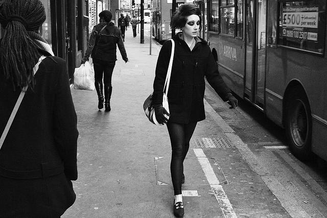 girl walking to train travel