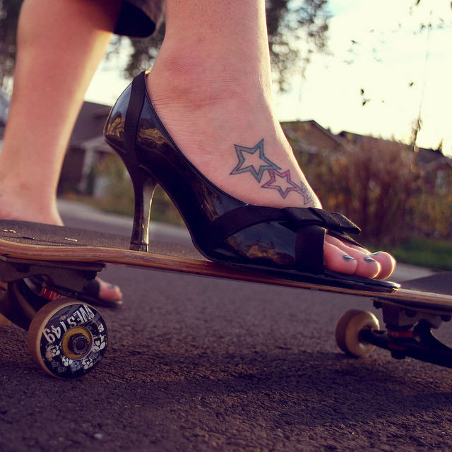 skateboard, high heels