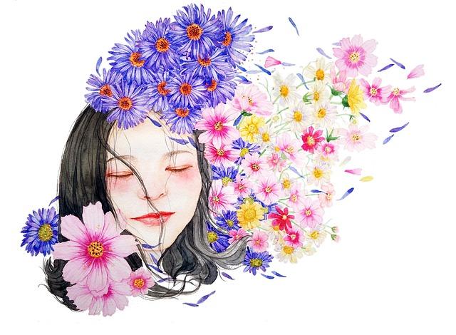 girl, watercolor, flowers, buds