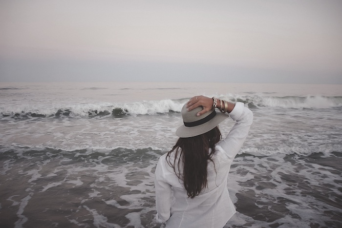 woman alone ocean