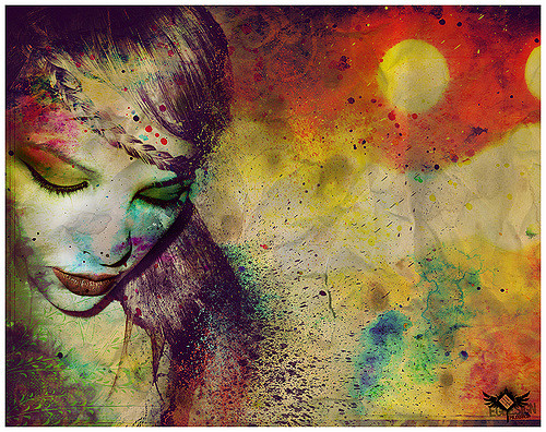 girl, paint, sad, artistic,