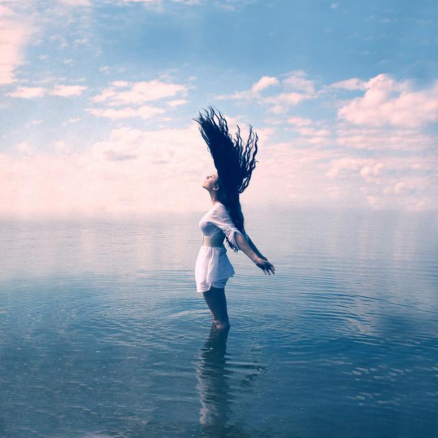 wind, girl, water, breeze, freedom, free