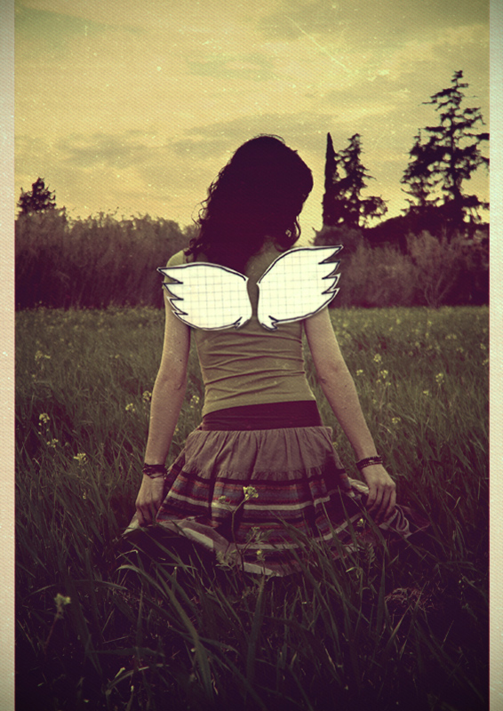 girl paper wings