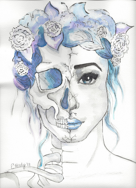 girl skull art watercolor