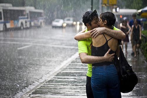 kissing rain couple love