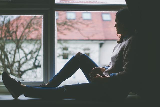 window, woman, alone