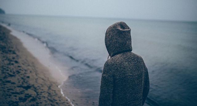 woman alone beach