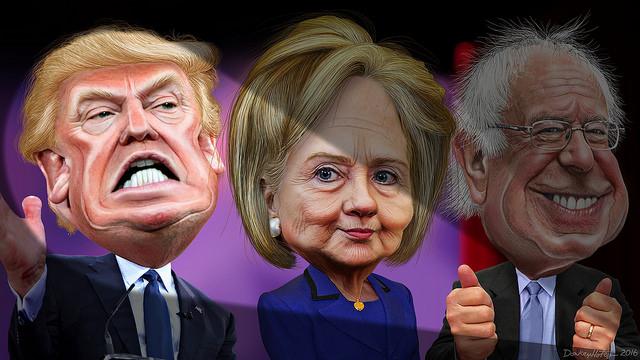 MSM spotlights Donald Trump vs. Hillary Clinton and Bernie Sanders, DonkeyHotey/Flickr