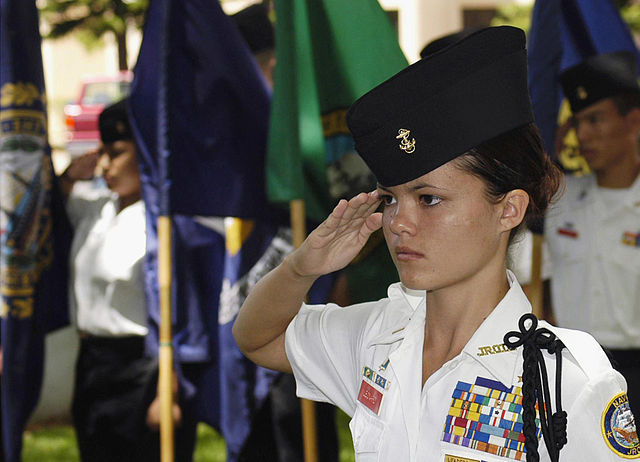 Junior ROTC military teen salute