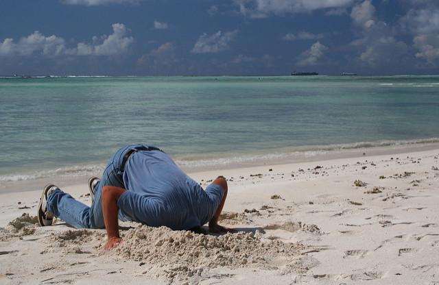 ostrich man head in sand