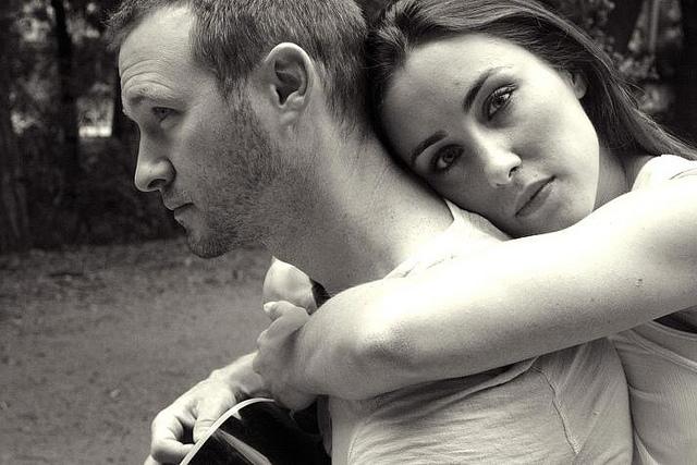 couple, sad, black and white