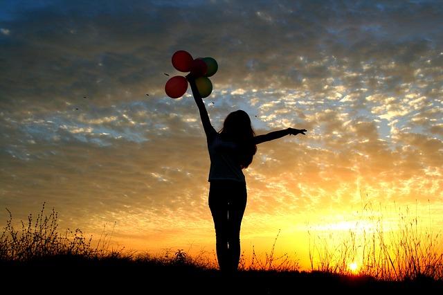 girl, balloon, let go