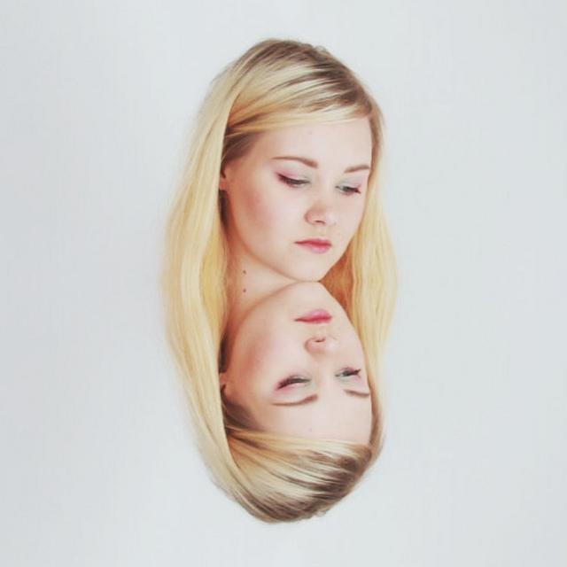 girl face mirror sad two face art