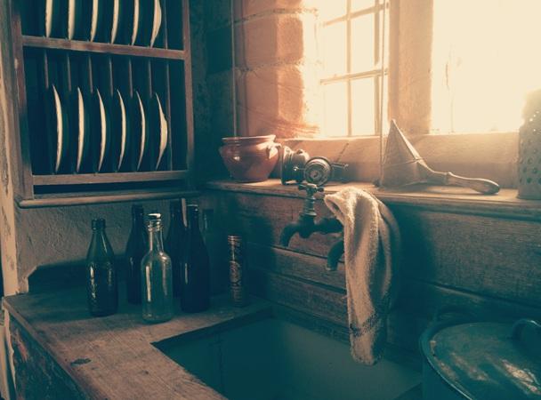 uncluttered home vintage sink kitchen