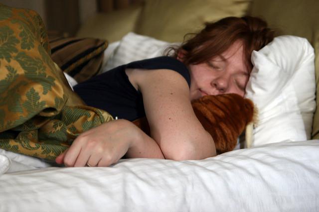 woman sleep cozy bed