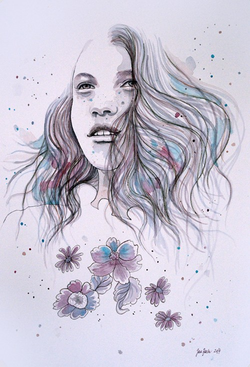 watercolor, woman, strong