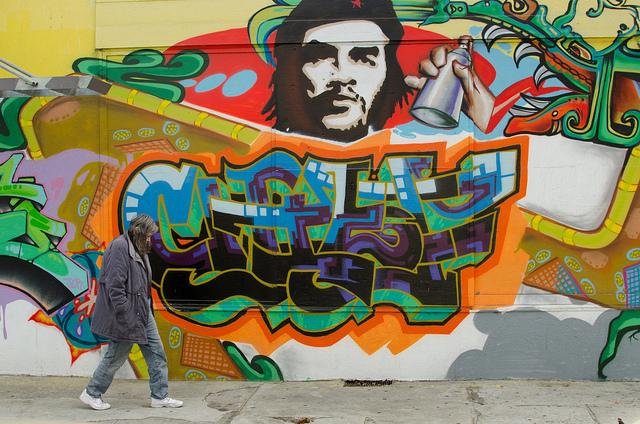 homeless woman che graffiti poverty