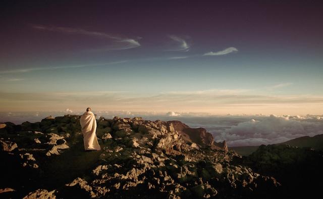 mountain sky woman robe