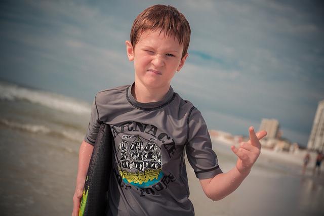 cool surfer kid boy beach fun
