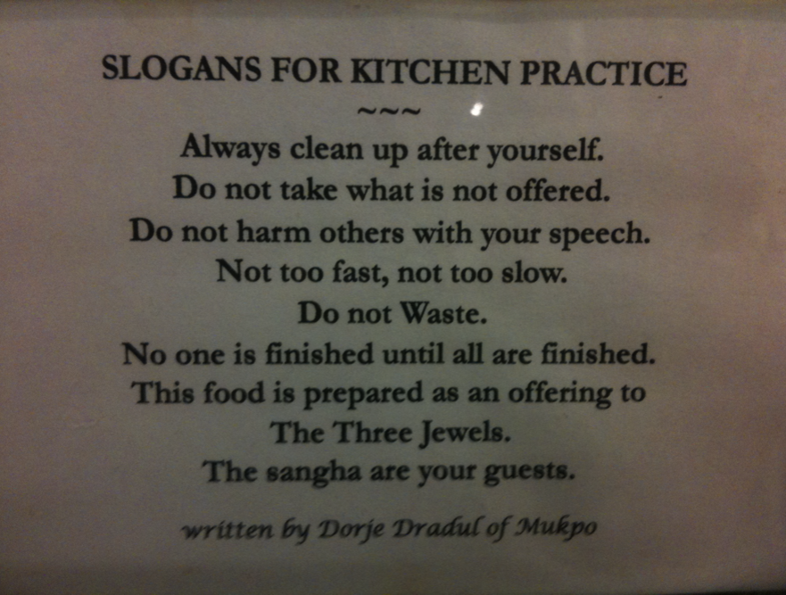 8 Slogans for Kitchen Practice, by Chögyam Trungpa Rinpoche