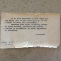 """My grandfather kept this quote in his wallet until he died."""