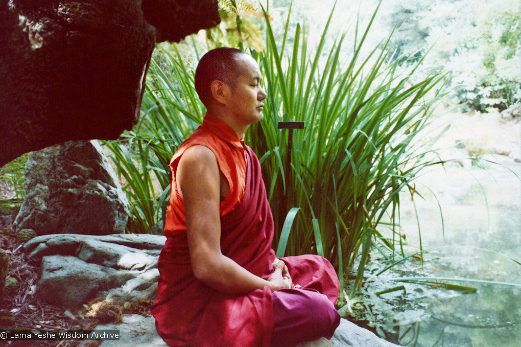 Lama meditating, California, 1974