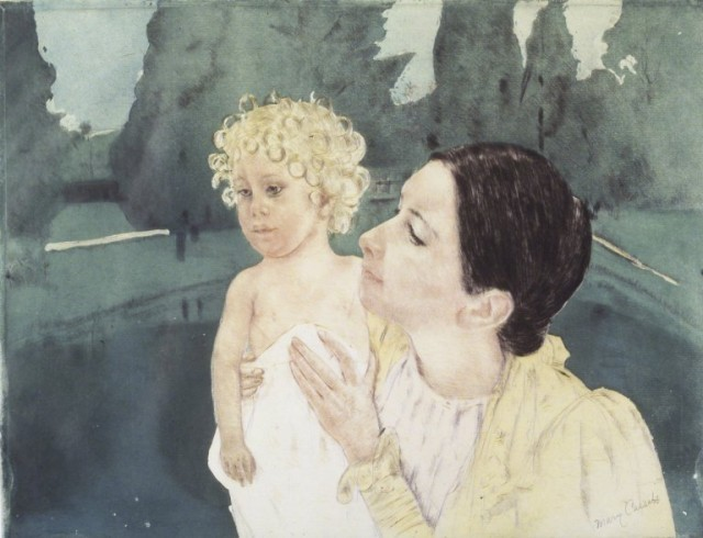 Mother and Daughter near pool Mary Cassatt painting