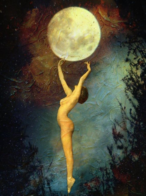 Woman and Moon