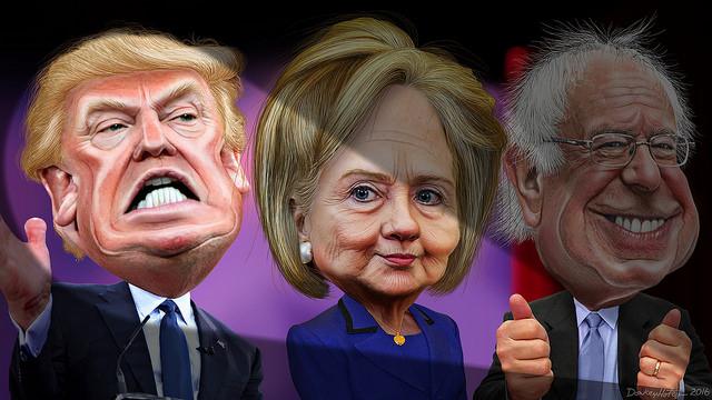 MSM spotlights Donald Trump vs. Hillary Clinton and Bernie Sanders, DonkeyHotey/Flickr