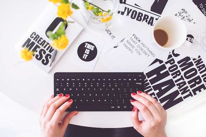 woman creative work career write type computer