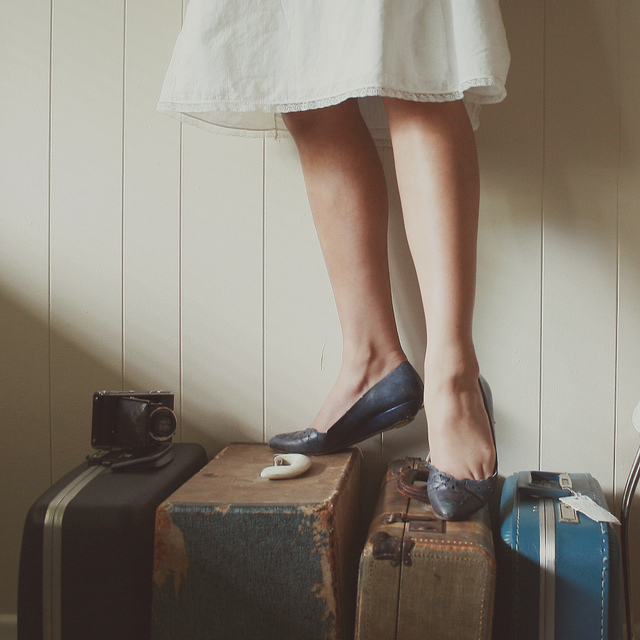girl suitcase travel legs escape leave
