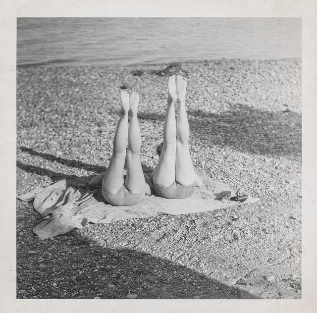 girls friends yoga beach swim vintage legs bums