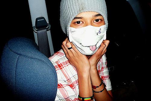 mask sick germs sanitize