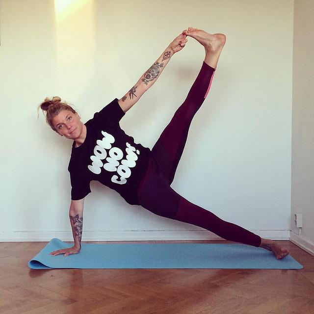 yoga pose girl mat