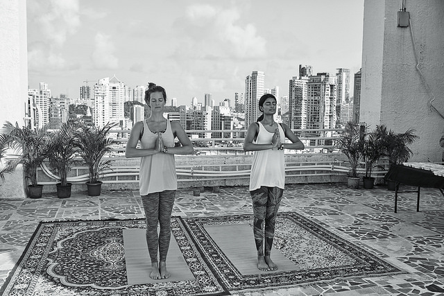 yoga studio women pose meditate