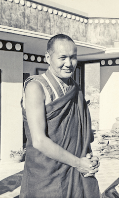 (00608_ud-2.psd) Portrait of Lama Yeshe on the roof at Kopan Monastery, Nepal, 1974.