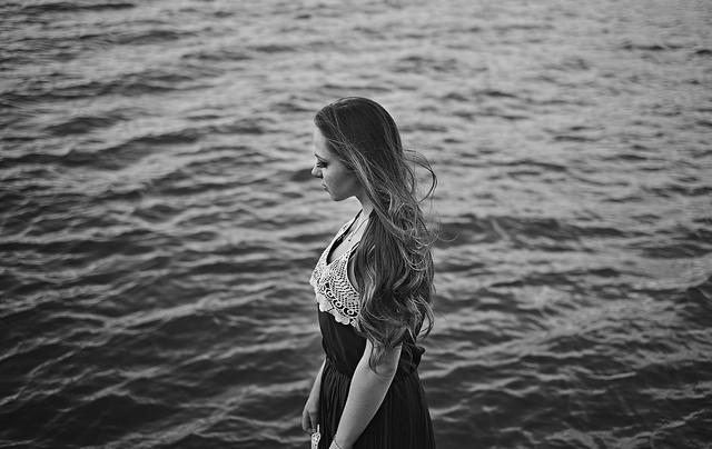 woman, girl, water, ocean, sad, thoughtful, pensive, meditate
