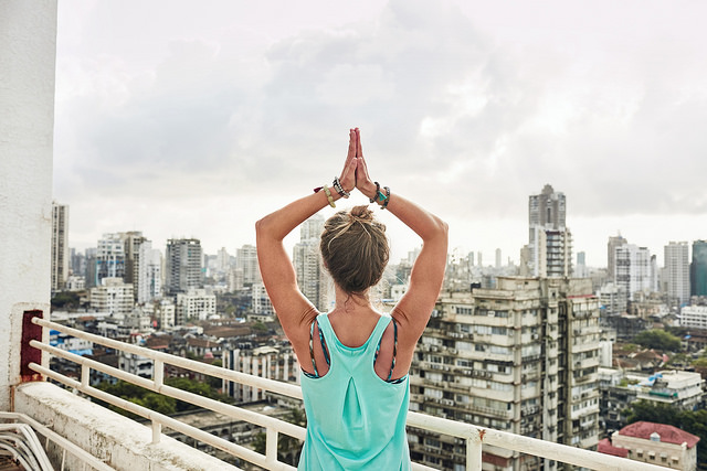 yoga intention meditate outdoors girl