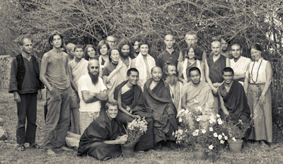 Group photo from the first meditation course held at Kopan Monastery, April, 1971. Left to right, front row: Zina Rachevsky, Lama Zopa Rinpoche, Geshe Thubten Tashi, Age Delbanco (Babaji), Lama Yeshe, Losang Nyima. Fred Von Allmen is at far left, Claudio Cipullo second from the end on the right, and Mark Shaneman is standing directly behind Babaji. Photo provided by Fred von Allmen.