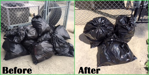garbage before and after