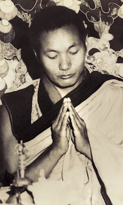 "Lama Yeshe doing puja (spiritual practice) in the ""old gompa"" (shrine room), Kopan Monastery, 1971."