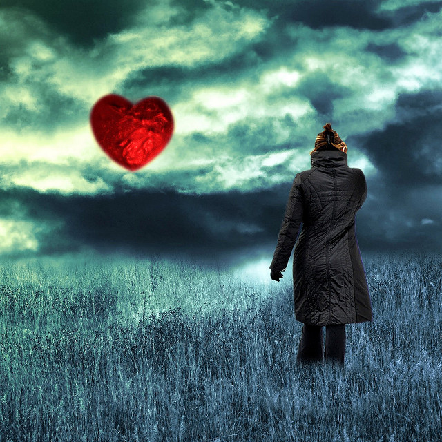 heart sky woman alone field love relationships winter