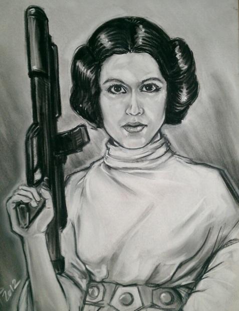 jedi princess leia star wars gun woman fight art drawing
